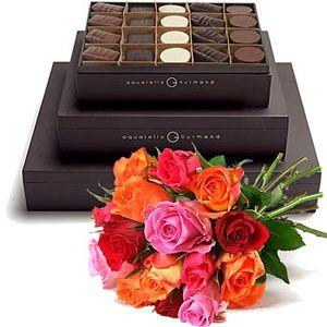 Divinité Aquarelle_gourmand_bouquet_fleurs_chocolats_pralines