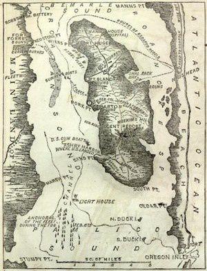 Légende : Croatoan Roanoke ou la légende de la colonie perdue. Roanoke-island-map
