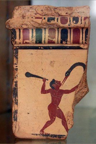 Histoire des hommes perdus : pygmées et andamanais 694h2-Musee-de-Corinthe--combat-d-un-Pygmee-et-d-une-grue