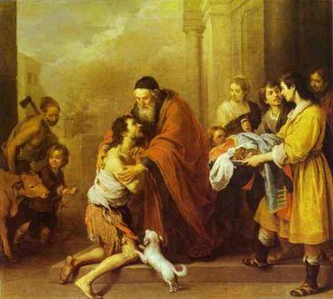 La joie de l'Évangile/Citation/110<>114 Bartolome_Esteban_Murillo._Le_Retour_du_fils_prodigue._1670