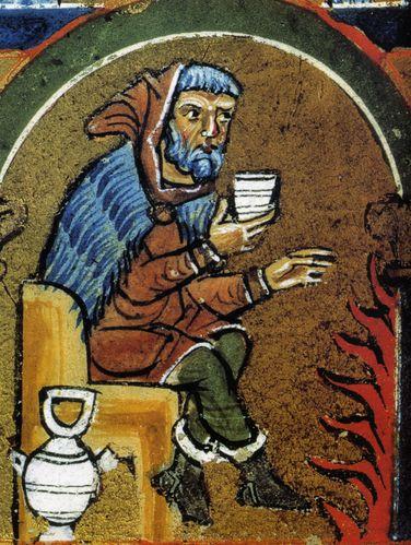 Capas y mantos 1235-Homme-buvant-et-se-rechauffant--Psautier-d-Hildesheim