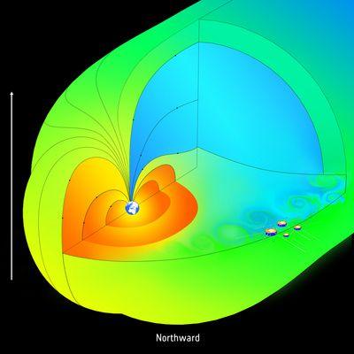 L'agence spatiale européenne confirme que la magnétosphère est devenue une passoire Cluster_magnetosphere