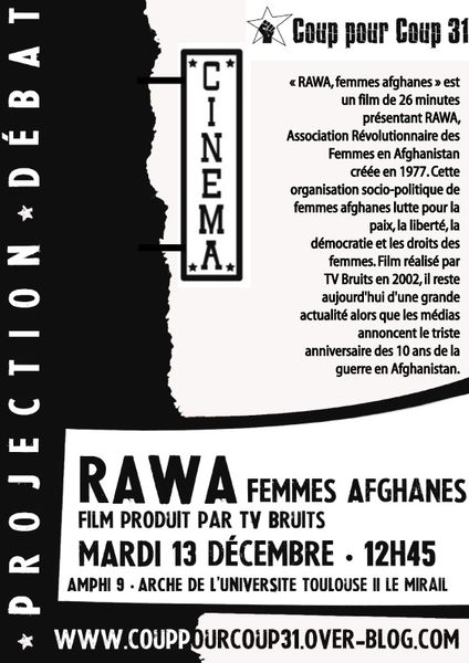 """Toulouse : projection """"RAWA, femmes afghanes""""  ProjectRAWA-copie"""
