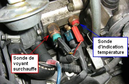 Couleur sonde thermistance temperature d'eau sur bloc moteur SondeTempEau