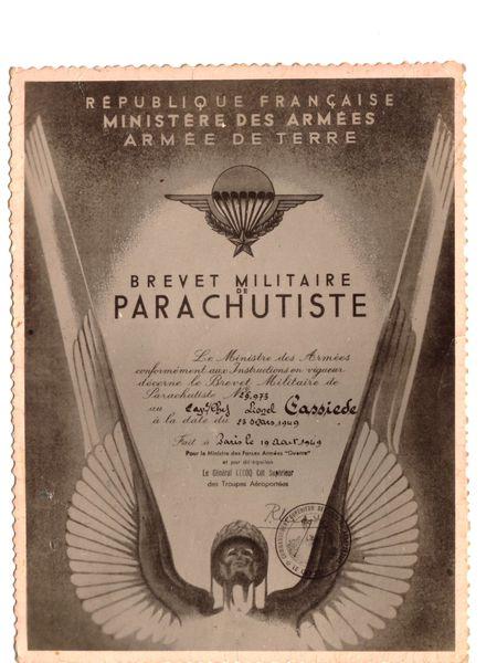 Adjudant Lionel Cassiède Brevet-Militaire-de-Parachutiste-1949