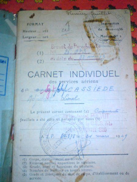 Adjudant Lionel Cassiède Carnet-de-sauts-recto