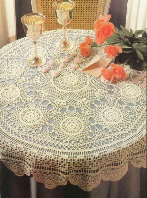 مفرش للطاولة بوحدات دائرية وحاشية جميلة Nappe-aux-motifs-ronds