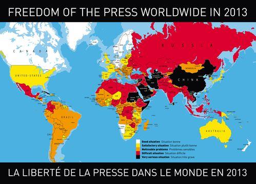 Classement mondial de la liberté de la presse: la France seulement... 37ème 2013-carte-liberte-pressebd