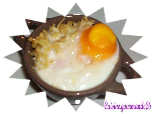 Oeufs cocotte coquillettes et jambon Cocotte