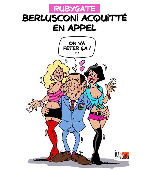 A RIRE OU EN PLEURER OU REVUE DE PRESSE SATIRIQUE - Page 13 Berlusconi-aquitte-jm