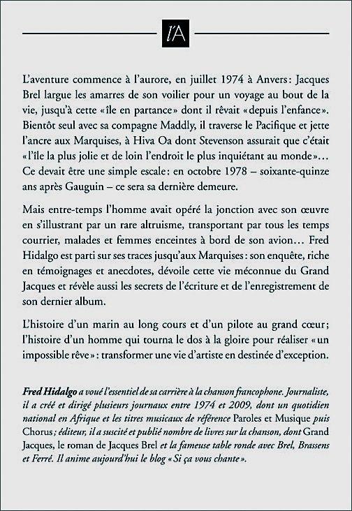 Livre sur Jacques Brel Couv4e