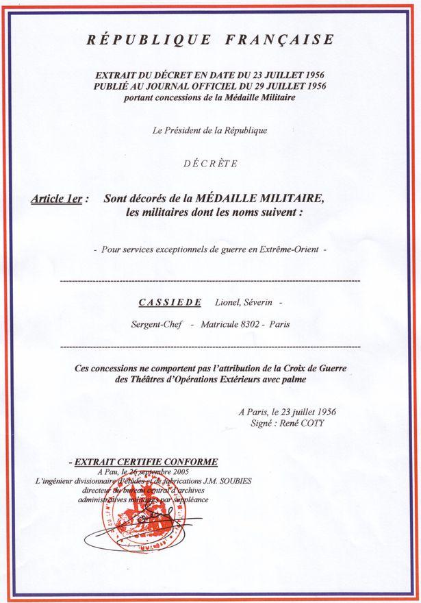 Adjudant Lionel Cassiède MEDAILLE-MILITAIRE-1956