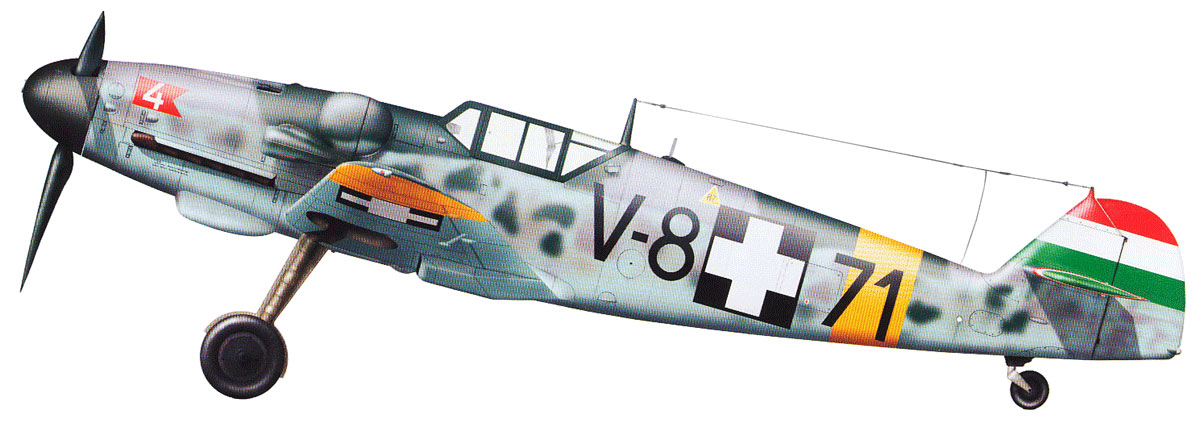 Bf 109 G-6 Hongrois V-8+71 du l'escadron de chasse 4/101 ( Octobre 1944) Hasegawa 1/48 +Décals Aviation USK 13_17_b1