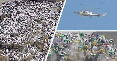 """بالصور .. الحجاج المصريون يرفعون علم مصر أعلى جبل الرحمة بـ""""عرفات"""" 201609110358105810"""