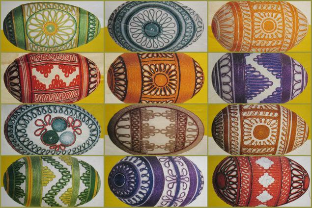 Пасхальные яйца из ткани, лент, джута.... 84857398_201203143