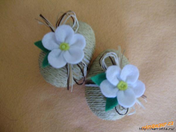 Пасхальные яйца из ткани, лент, джута.... 98348738_n11869