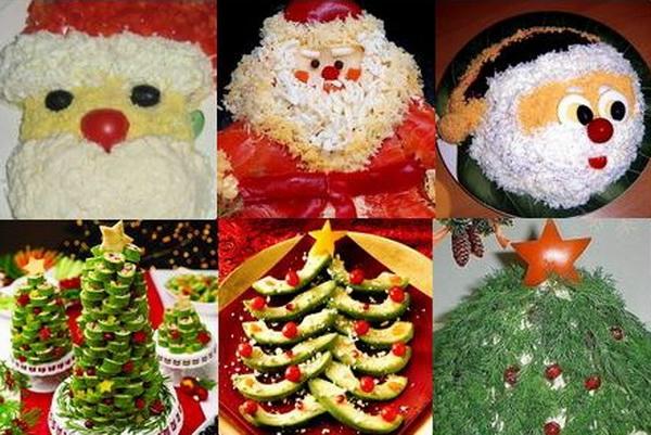 Фотоподборка оригинально оформленных новогодних салатов 108568588_Novogodniesalatyi20131