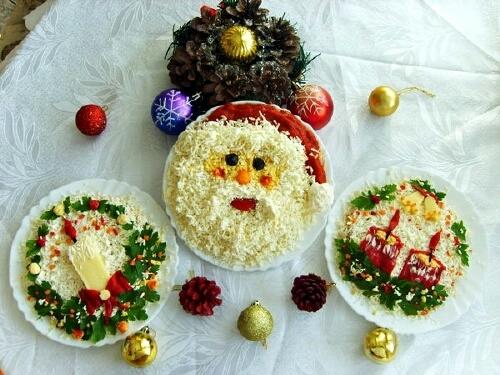 Фотоподборка оригинально оформленных новогодних салатов 108568590_novogodniesalatyna2013god05