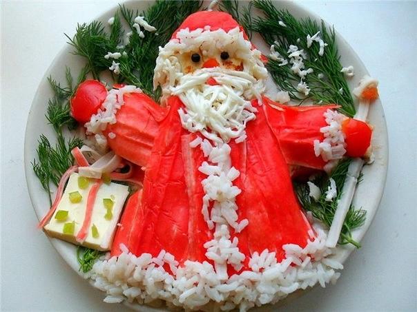 Фотоподборка оригинально оформленных новогодних салатов 108568594_x_19aea2ad