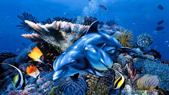 art-zhivopis-kartina-risunok-priroda-delfiny (700x393, 498Kb)
