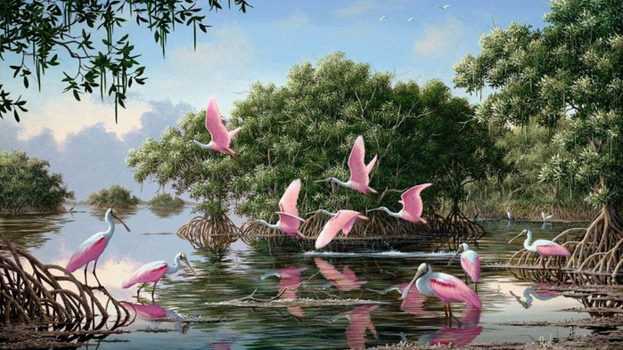 ws_Pink_Spoonbills_Lake_Trees_1366x768 (700x393, 353Kb)