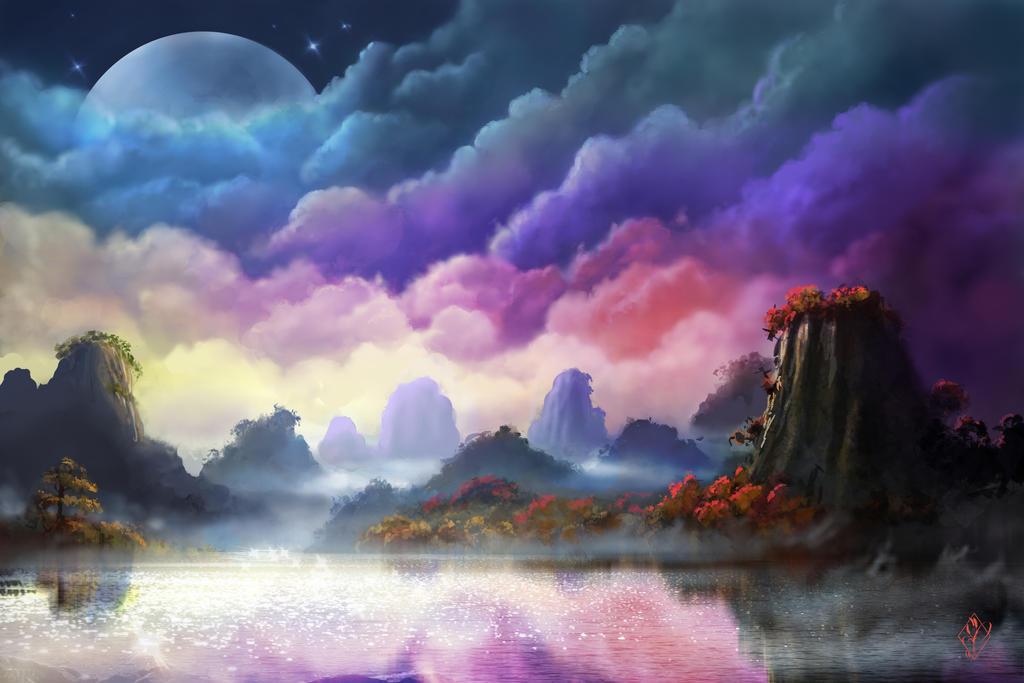Lysa Vastalan ou les cieux embrasés Moon_over_landscape_by_jjpeabody-d84v2wz