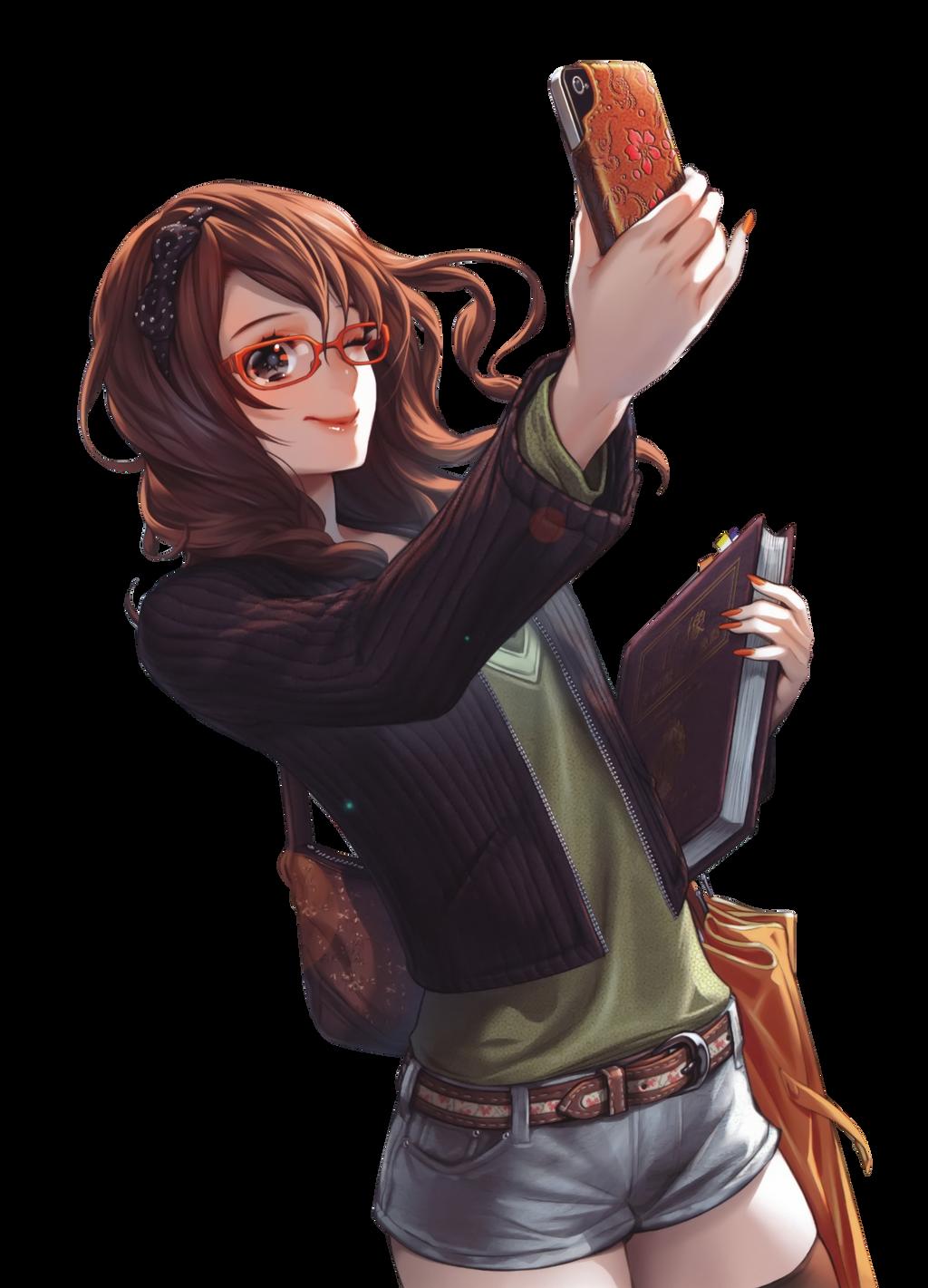 [NPC] Nicole Drew Brown_hair_anime_girl_glasses_phone_render_png_by_seikiyukine-d85eu8p