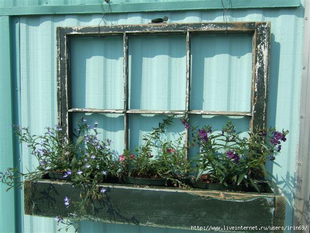 Старые оконные рамы в интерьере. Идеи... 95870211_large_jenniferflowerbox