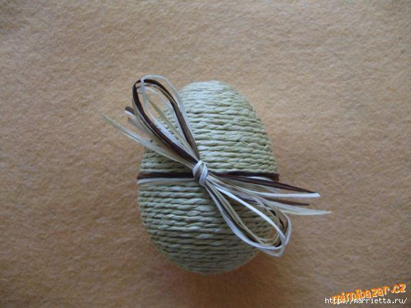 Пасхальные яйца из ткани, лент, джута.... 98348747_p54027