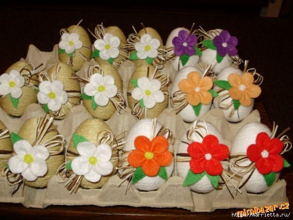 Пасхальные яйца из ткани, лент, джута.... 98348749_p54032