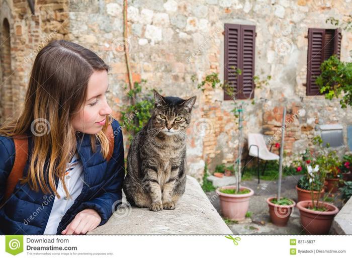la-chica-joven-estГЎ-teniendo-una-charla-agradable-con-un-gato-local-en-italia-83745837 (700x515, 439Kb)