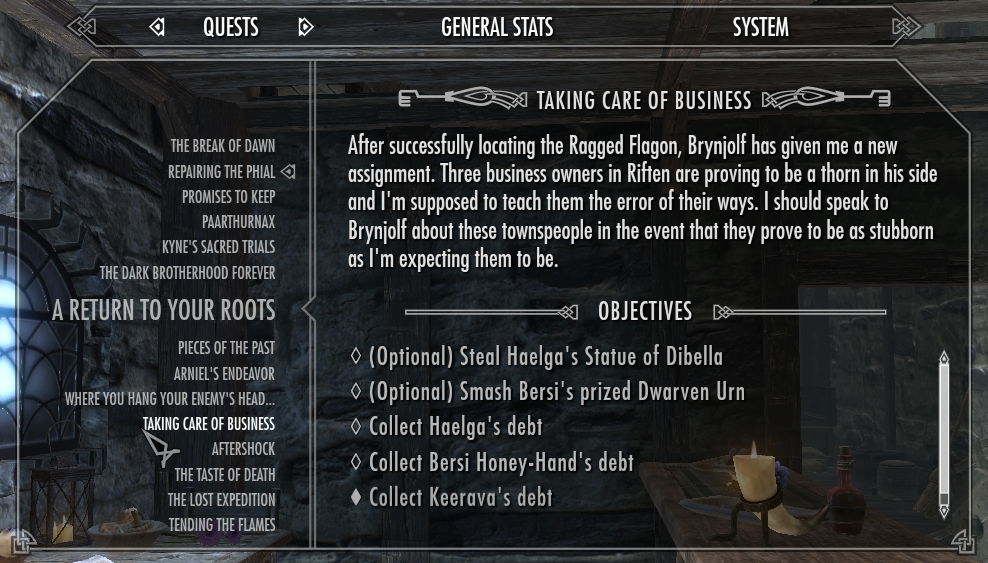 Fonts and the 'feel' of a game Quests_(Skyrim)_Interface