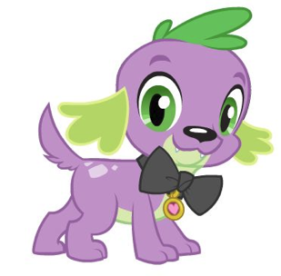 Imagens e Fan arts da Serie Equestria_Girls_Spike_dog_wearing_bow_tie_with_tag