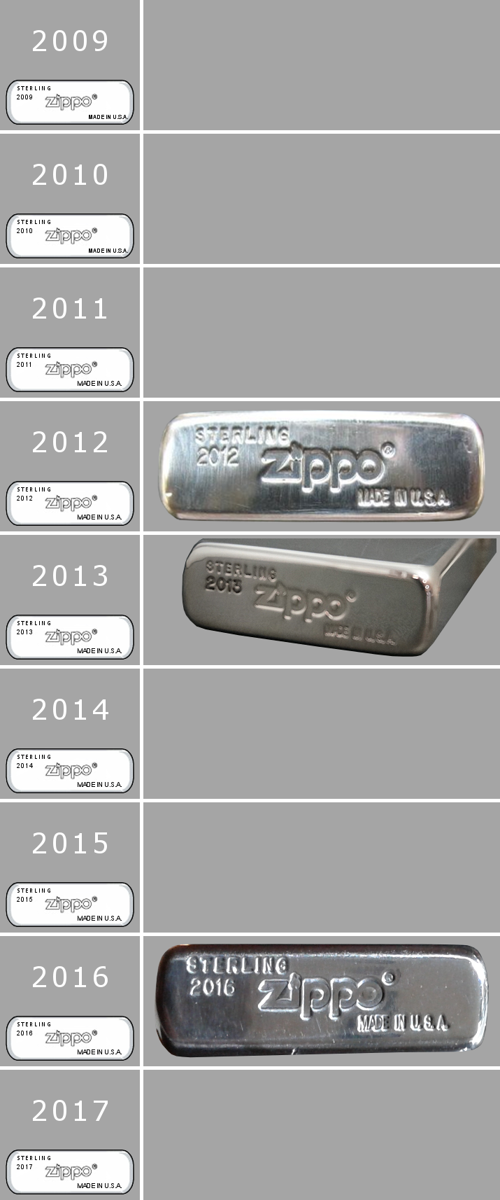 Datation - [Datation] Les Zippo Sterling Silver 2009-2017-523d012