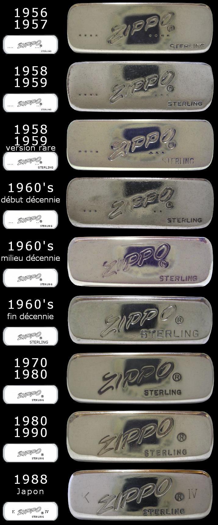 Datation - [Datation] Les Zippo Sterling Silver 1956-1990-523cf2c