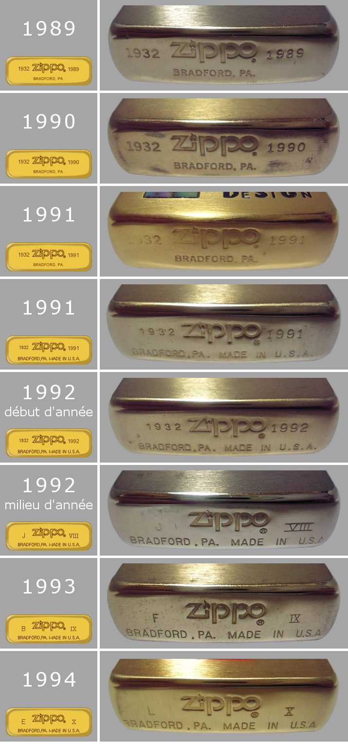 Datation - [Datation] Les Zippo Solid Brass Regular-1989-1994-524a485
