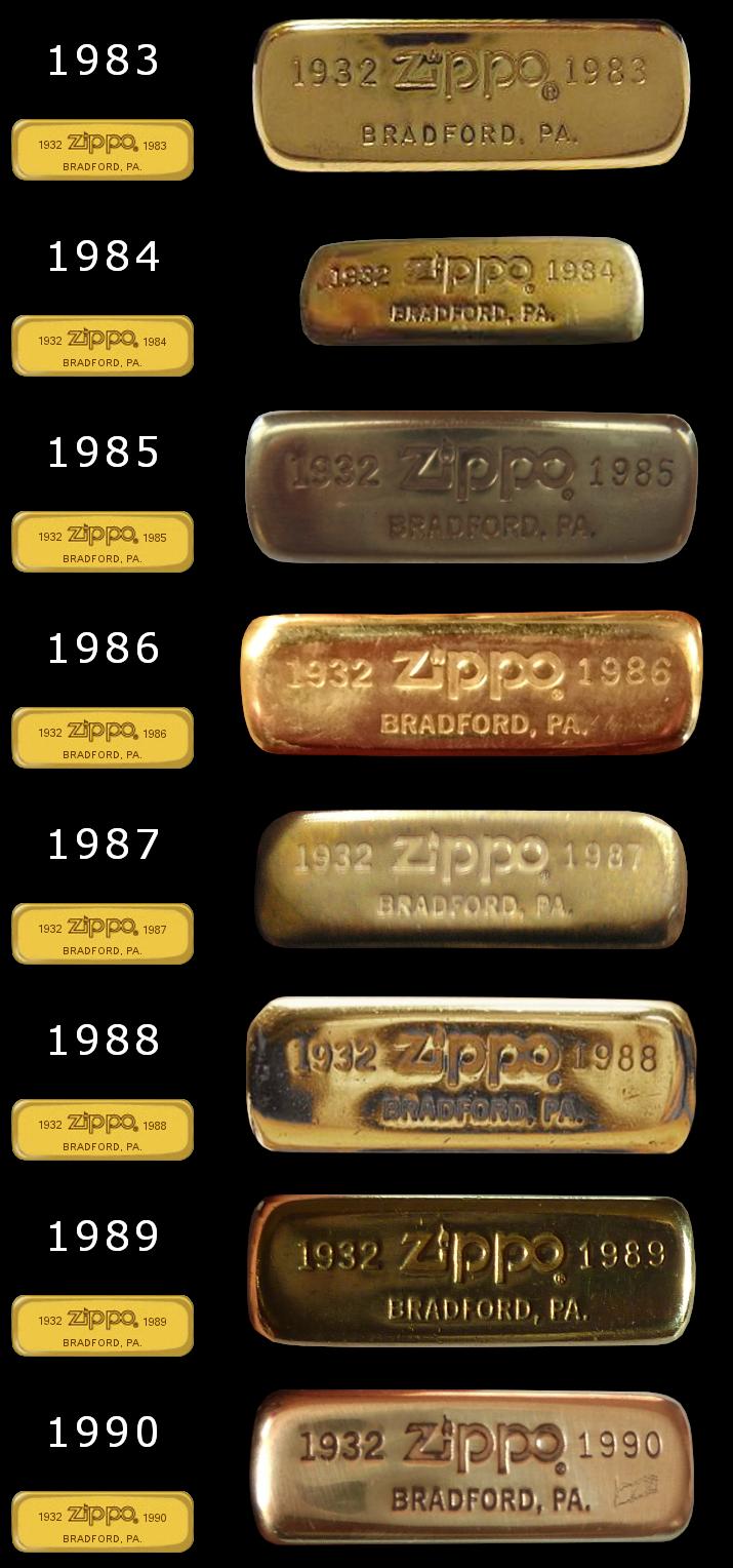 Datation - [Datation] Les Zippo Solid Brass Slim-1983-1990-524d633