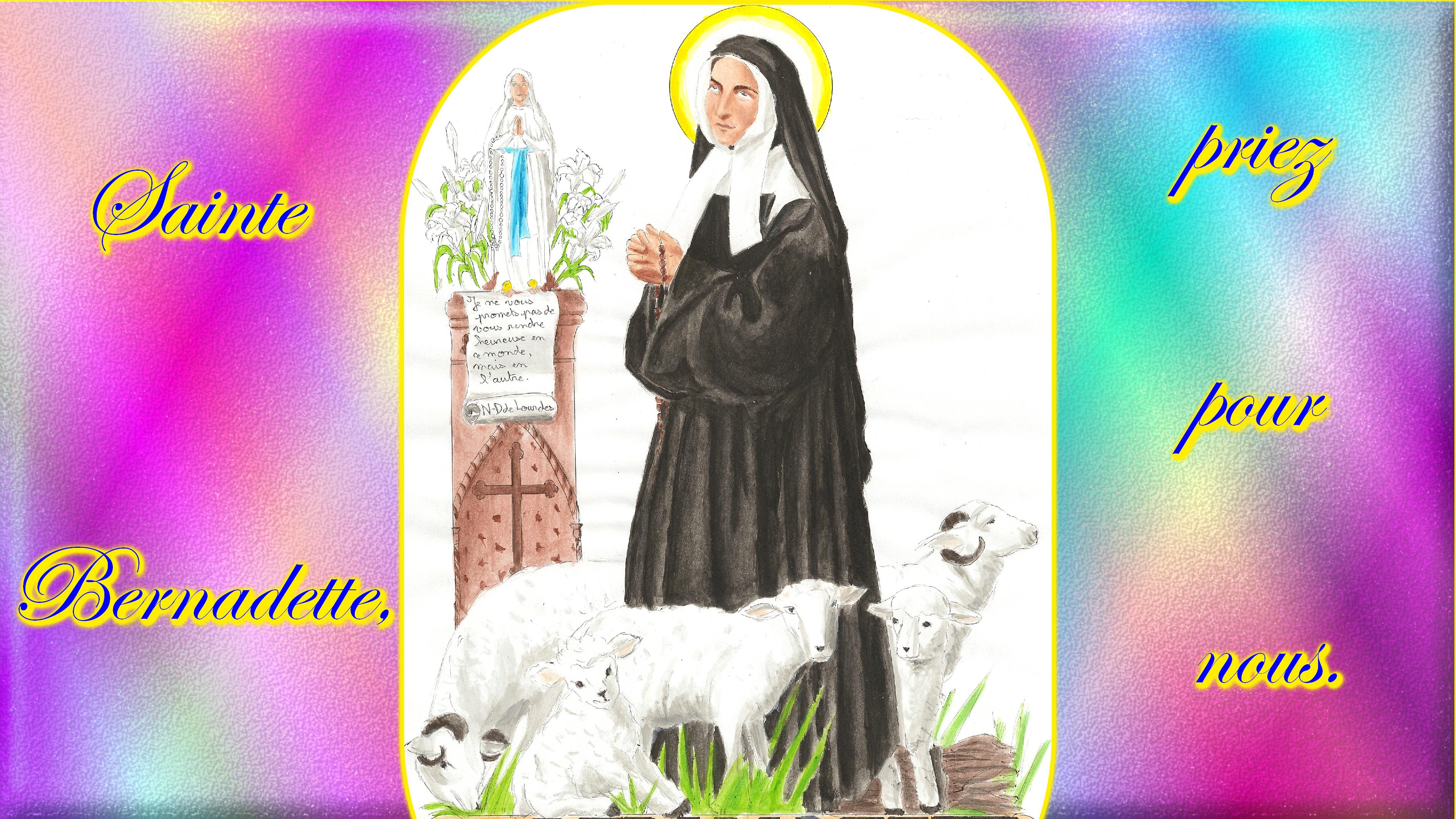 CALENDRIER CATHOLIQUE 2020 (Cantiques, Prières & Images) - Page 5 Ste-bernadette-570fa6f