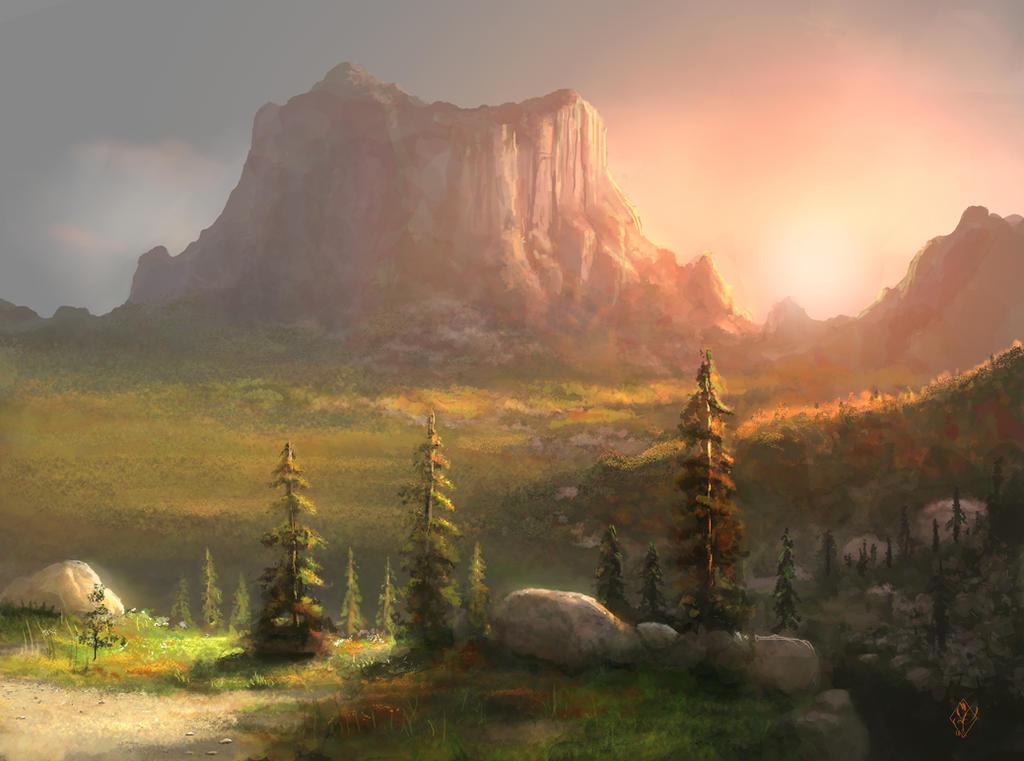Lysa Vastalan ou les cieux embrasés Setting_sun_over_mountain_landscape_by_jjpeabody-d86u77k