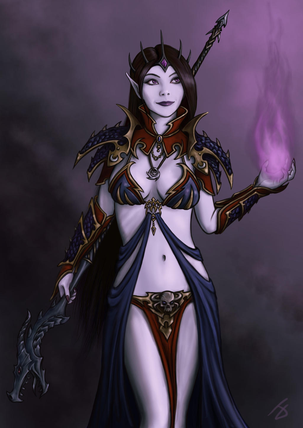 [Warhammer Fantasy Battle] Images diverses - Page 2 Amarasha___dark_elf_sorceress_by_i_m_m_o-d6ptqm2