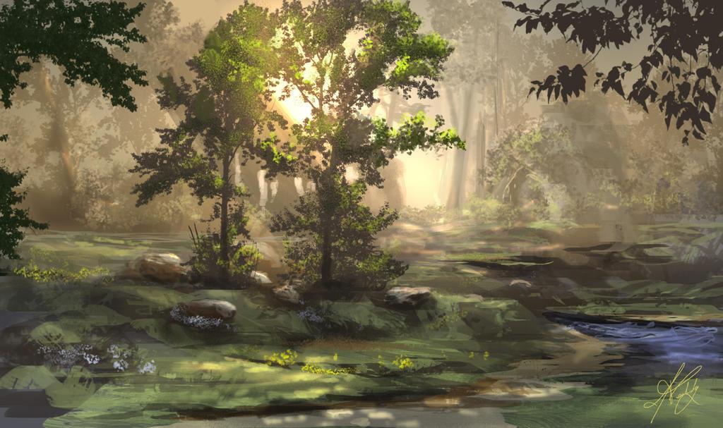 Lysa Vastalan ou les cieux embrasés Sunset_in_woods_by_jjpeabody-d7f8jh1