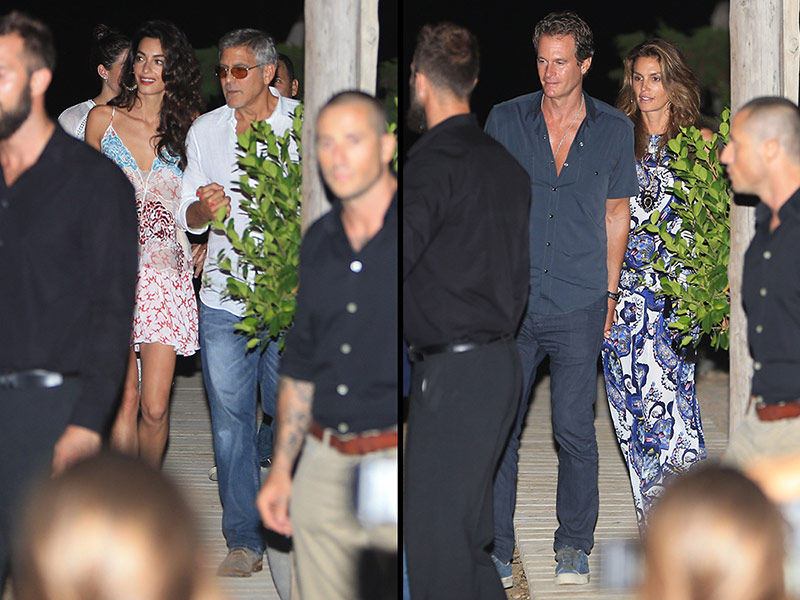 George Clooney, Amal, Rande and Cindy Gerber at the Es Torrent restaurant in Ibiza 22. August 2015 Clooney-crawford-01-800