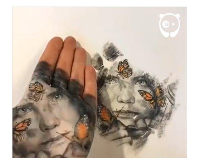 رسام إيطالي يبدع لوحات رائعة على راحة يده 1436574252
