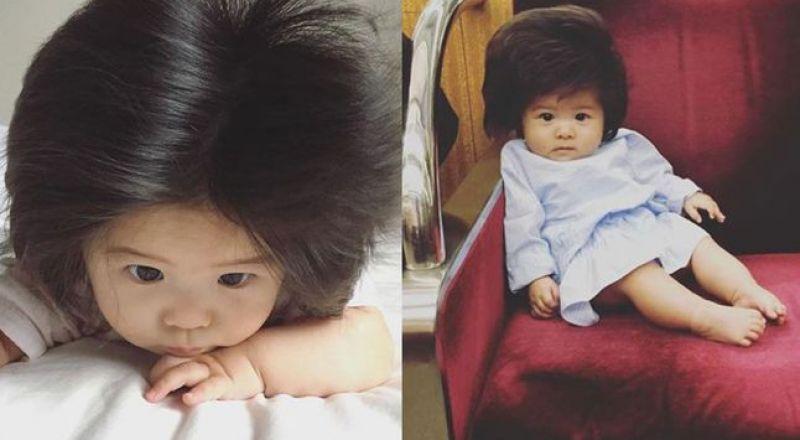 طفلة الـ6 أشهر التي شغلت العالم بشعرها الأسود الكثيف! Bb042
