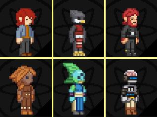 Les différents styles de jeu dans Starbound Starbound-My6characters_zps8fbd1576-1