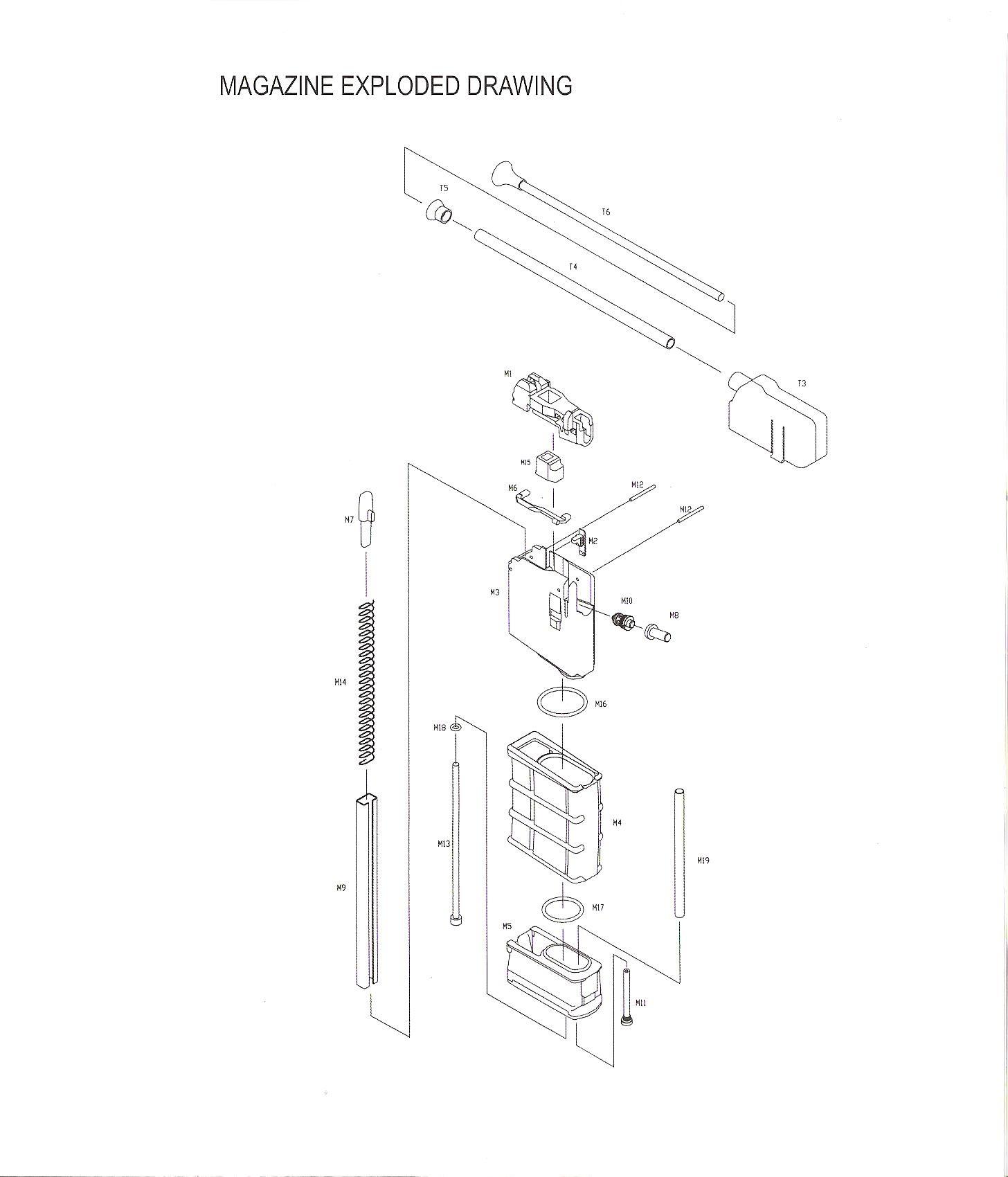 Éclaté réplique , Éclaté chargeur , Liste des pièces , détail M4  853234eclatchargeurkjw001-2d66be3