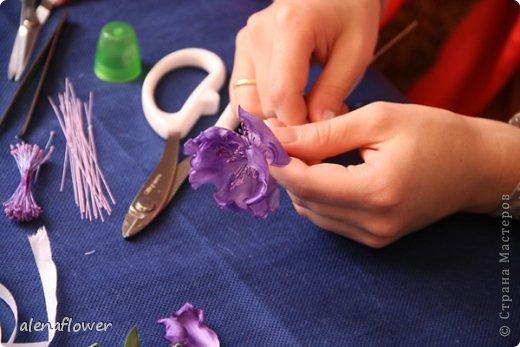 """Мастер класс. Цветы из шелка в технике somebana с элементами техники """"Живой цветок"""". Шиповник. 13_24_16"""