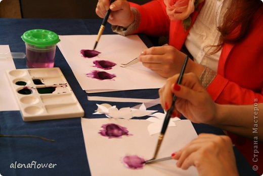 """Мастер класс. Цветы из шелка в технике somebana с элементами техники """"Живой цветок"""". Шиповник. 13_24_2"""
