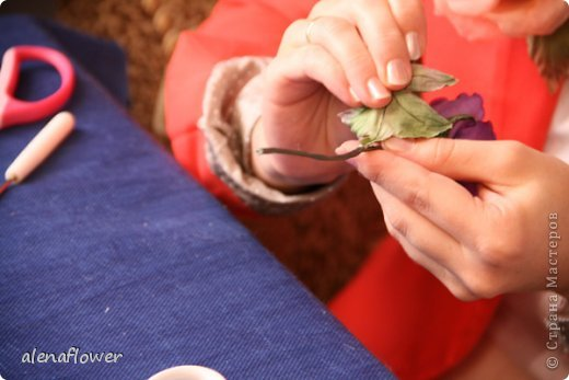 """Мастер класс. Цветы из шелка в технике somebana с элементами техники """"Живой цветок"""". Шиповник. 13_24_22"""