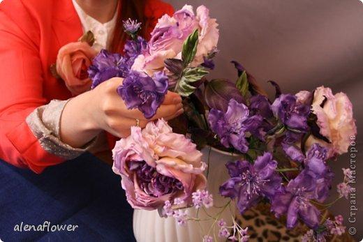 """Мастер класс. Цветы из шелка в технике somebana с элементами техники """"Живой цветок"""". Шиповник. 13_24_24"""